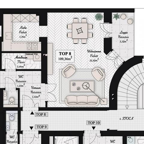Visualisierung Architektur Graphics Präsentationspläne Verkaufspläne